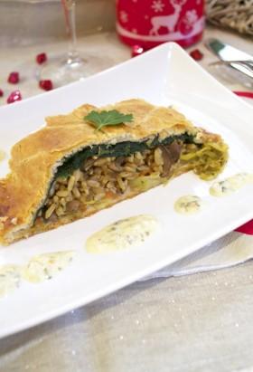 Feuilleté de Fêtes riz légumes et sa sauce vegan végétalien