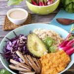 Assiette complète végétale et sans gluten – Sauce tahin #vegan #sansgluten