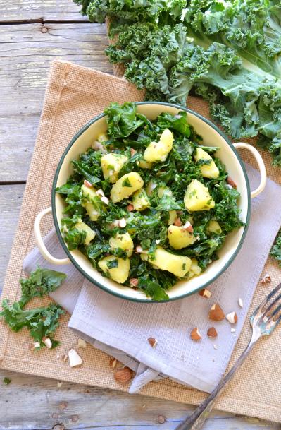 Salade kale pommes de terre vegan sans gluten