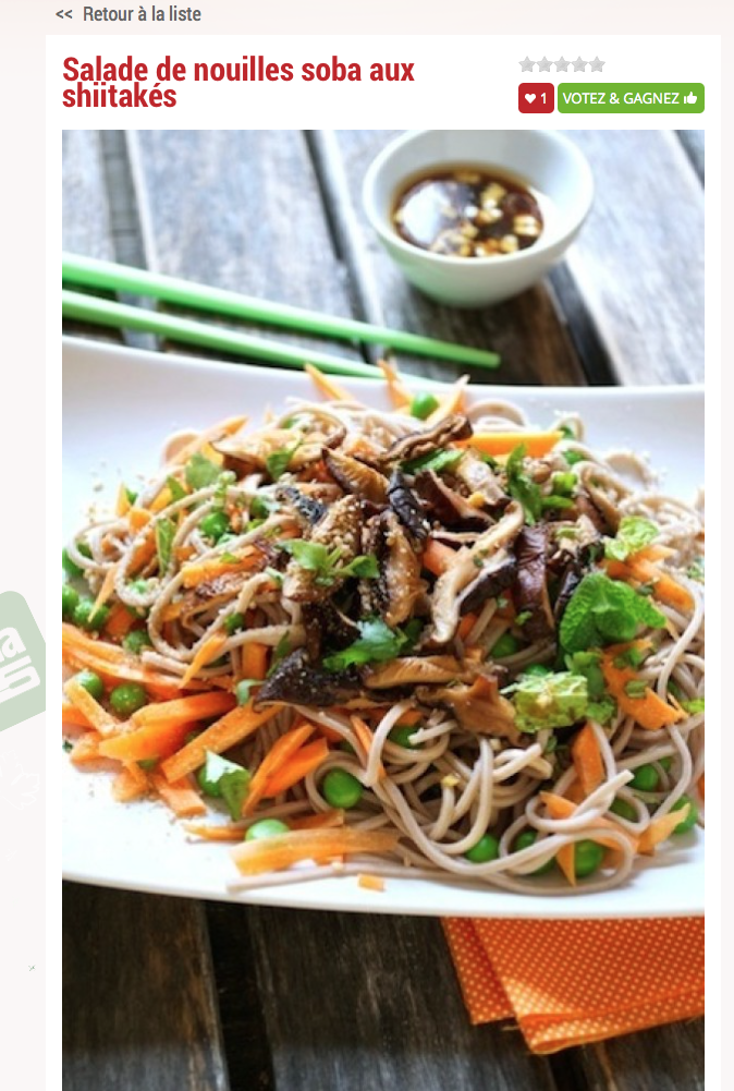 Salade de nouilles soba aux shiitakés happy veggie vegan