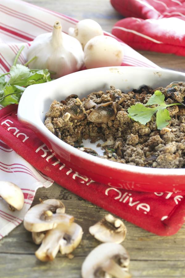 Crumble de champignons sarrasin noix de cajou vegan sans gluten
