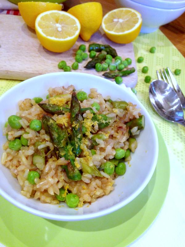 Spring risotto asperges petits pois citron vegan végétalien