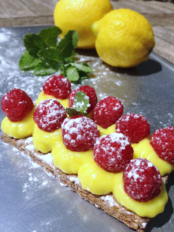 Tartelette framboises citron noisette vegan végétalien