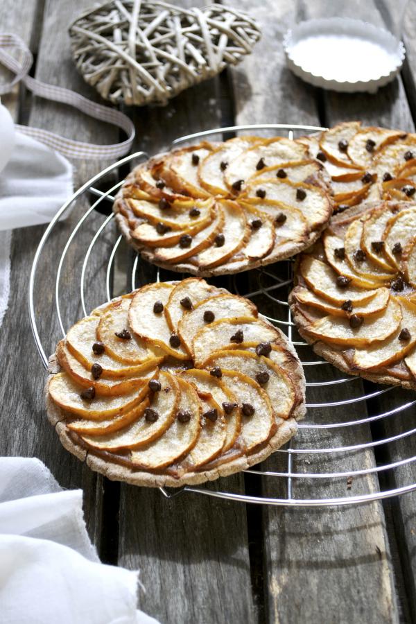Tartelettes pommes marron chocolat vegan sans gluten