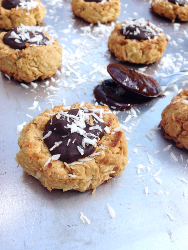 Thumbprint cookies coco chocolat vegan végétalien sans gluten