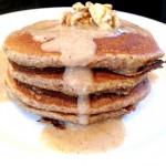 Pancakes aux graines de lin et crème pomme-noisette #vegan