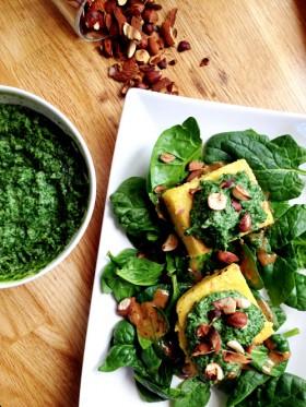 Polenta & crémeux de fanes de navets vegan végétalien