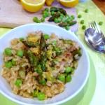 Spring risotto : asperges, petits pois, citron #vegan